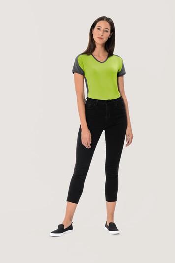 HAKRO Damen V-Shirt Contrast Mikralinar® #190