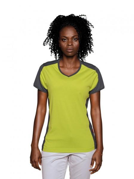 HAKRO Damen-V-Shirt-Contrast Performance #190